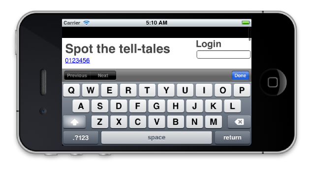 app showing some of the tell-tale signs of HTML
