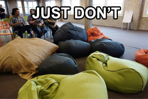 """Just Don't"" photo of some beanbags used a meet up"